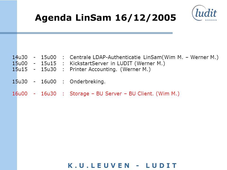 K. U. L E U V E N - L U D I T Agenda LinSam 16/12/2005 14u30 - 15u00 : Centrale LDAP-Authenticatie LinSam(Wim M. – Werner M.) 15u00 - 15u15 : Kickstar