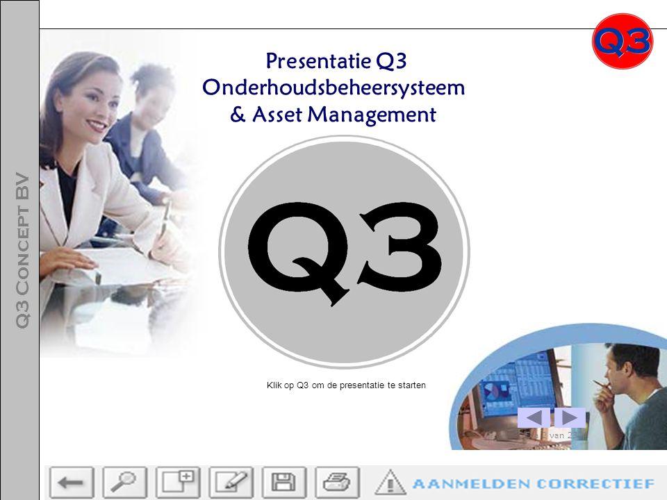Presentatie Q3 Onderhoudsbeheersysteem & Asset Management Dia 2 van 23 Q3 Concept BV Klik op Q3 om de presentatie te starten