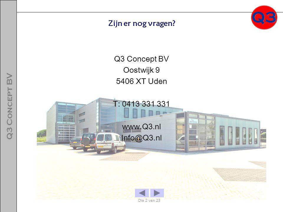 Oostwijk 9 5406 XT Uden T: 0413 331 331 www.Q3.nl Info@Q3.nl Zijn er nog vragen? Dia 2 van 23 Q3 Concept BV