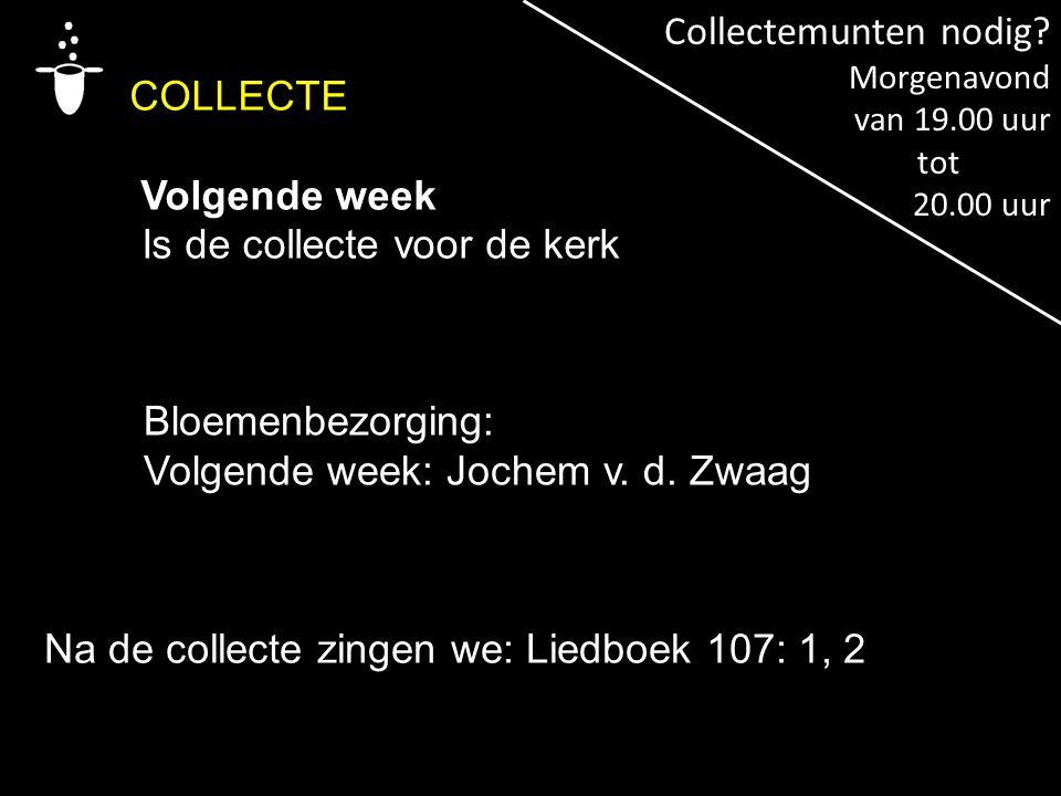 COLLECTE Volgende week Is de collecte voor de kerk Na de collecte zingen we: Liedboek 107: 1, 2 Bloemenbezorging: Volgende week: Jochem v. d. Zwaag Co