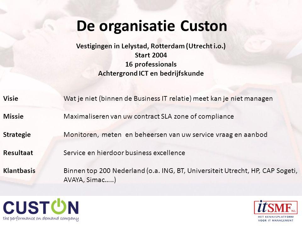 De organisatie Custon Vestigingen in Lelystad, Rotterdam (Utrecht i.o.) Start 2004 16 professionals Achtergrond ICT en bedrijfskunde VisieWat je niet (binnen de Business IT relatie) meet kan je niet managen MissieMaximaliseren van uw contract SLA zone of compliance StrategieMonitoren, meten en beheersen van uw service vraag en aanbod ResultaatService en hierdoor business excellence KlantbasisBinnen top 200 Nederland (o.a.