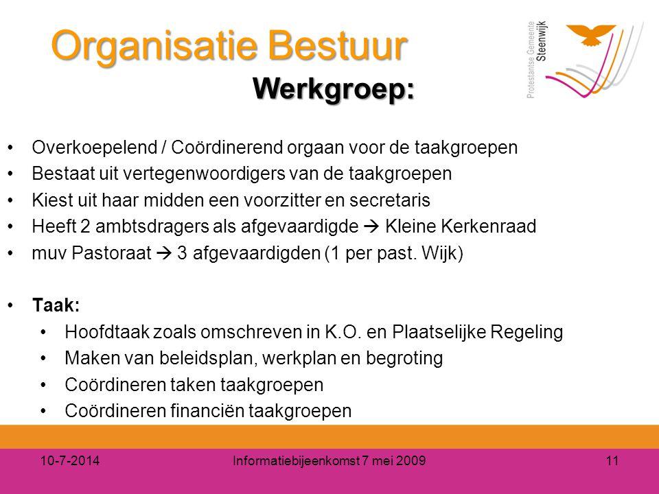 10-7-2014Informatiebijeenkomst 7 mei 200911 Organisatie Bestuur Werkgroep: Werkgroep: Overkoepelend / Coördinerend orgaan voor de taakgroepen Bestaat