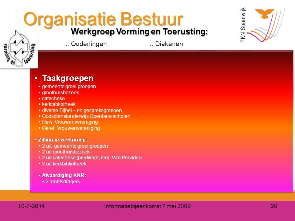 Organisatie Bestuur 10-7-2014Informatiebijeenkomst 7 mei 200920 Werkgroep Vorming en Toerusting:.. Ouderlingen.. Diakenen TaakgroepenTaakgroepen gemee