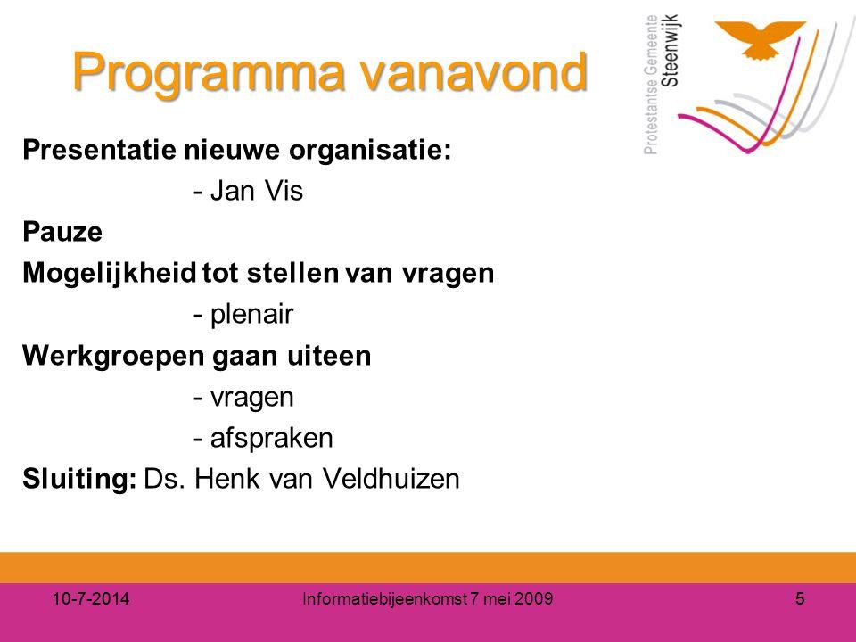 Informatiebijeenkomst 7 mei 2009510-7-20145 Programma vanavond Presentatie nieuwe organisatie: - Jan Vis Pauze Mogelijkheid tot stellen van vragen - p