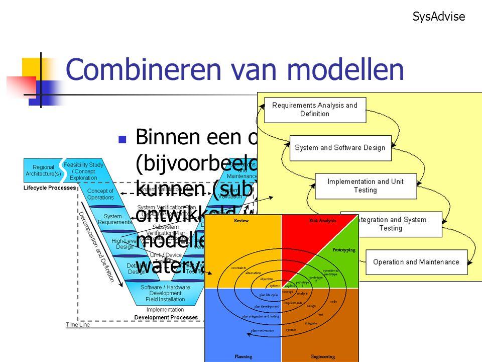 SysAdvise Binnen een ontwikkel model (bijvoorbeeld het V-model) kunnen (sub)systemen ontwikkeld worden met andere modellen (V-model, spiraal en waterval).