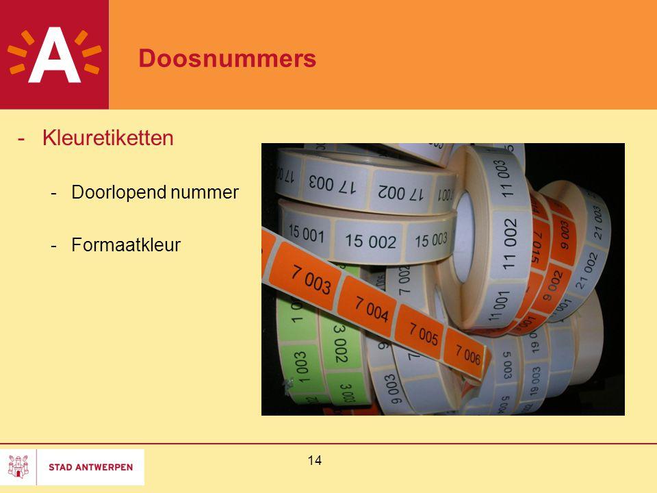 14 Doosnummers -Kleuretiketten -Doorlopend nummer -Formaatkleur