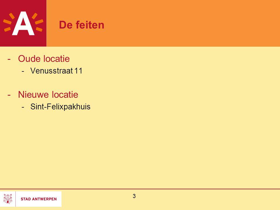 3 De feiten -Oude locatie -Venusstraat 11 -Nieuwe locatie -Sint-Felixpakhuis