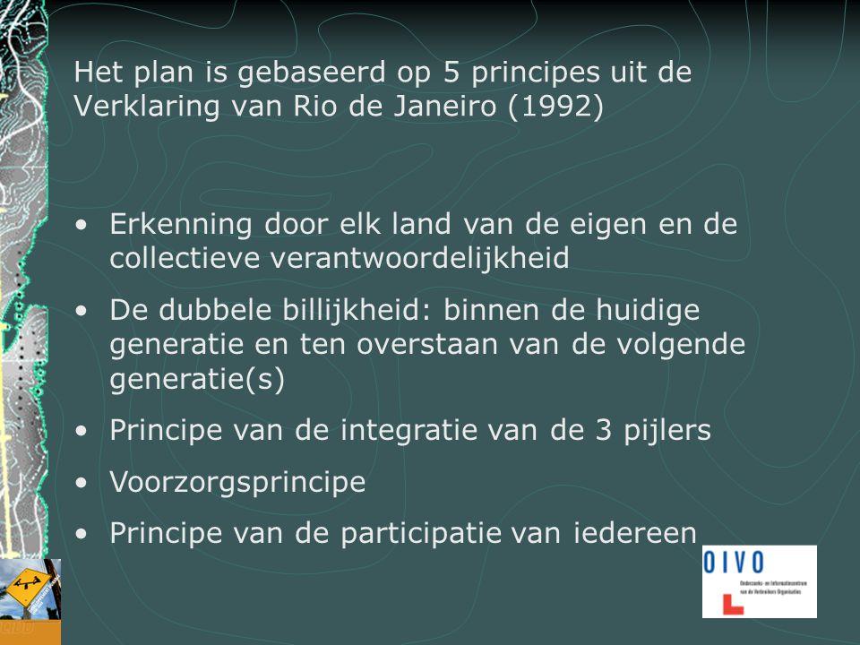 Het plan is gebaseerd op 5 principes uit de Verklaring van Rio de Janeiro (1992) Erkenning door elk land van de eigen en de collectieve verantwoordelijkheid De dubbele billijkheid: binnen de huidige generatie en ten overstaan van de volgende generatie(s) Principe van de integratie van de 3 pijlers Voorzorgsprincipe Principe van de participatie van iedereen