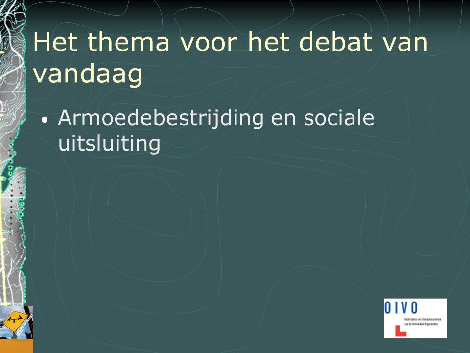Het thema voor het debat van vandaag Armoedebestrijding en sociale uitsluiting