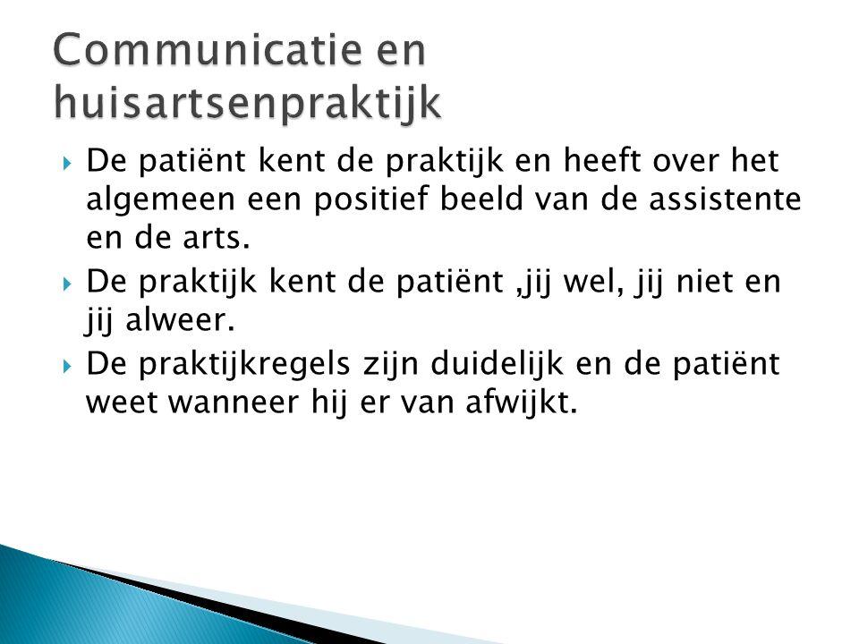  De patiënt kent de praktijk en heeft over het algemeen een positief beeld van de assistente en de arts.  De praktijk kent de patiënt,jij wel, jij n
