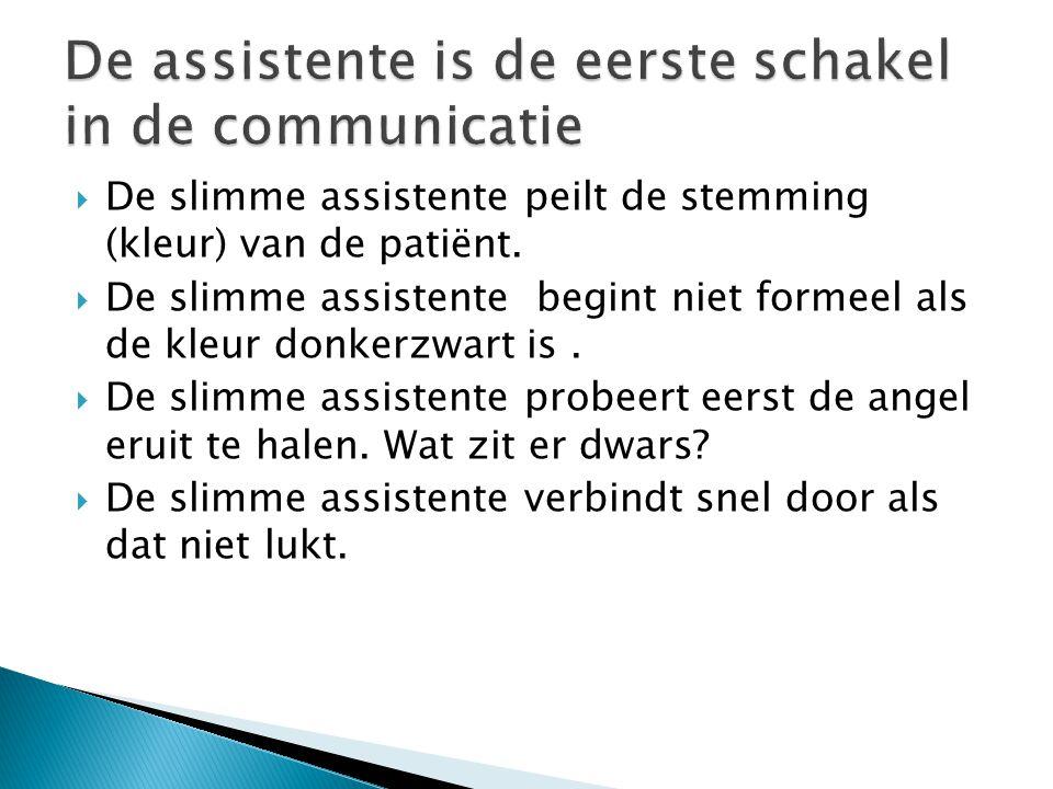  De slimme assistente peilt de stemming (kleur) van de patiënt.  De slimme assistente begint niet formeel als de kleur donkerzwart is.  De slimme a