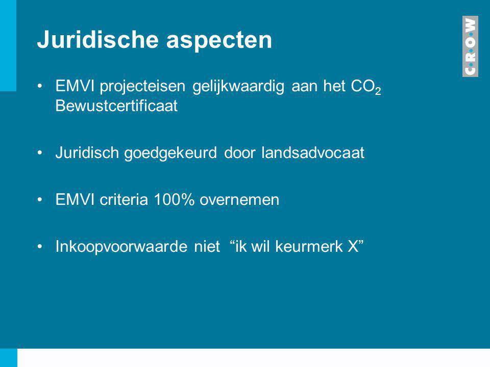 Juridische aspecten EMVI projecteisen gelijkwaardig aan het CO 2 Bewustcertificaat Juridisch goedgekeurd door landsadvocaat EMVI criteria 100% overnem