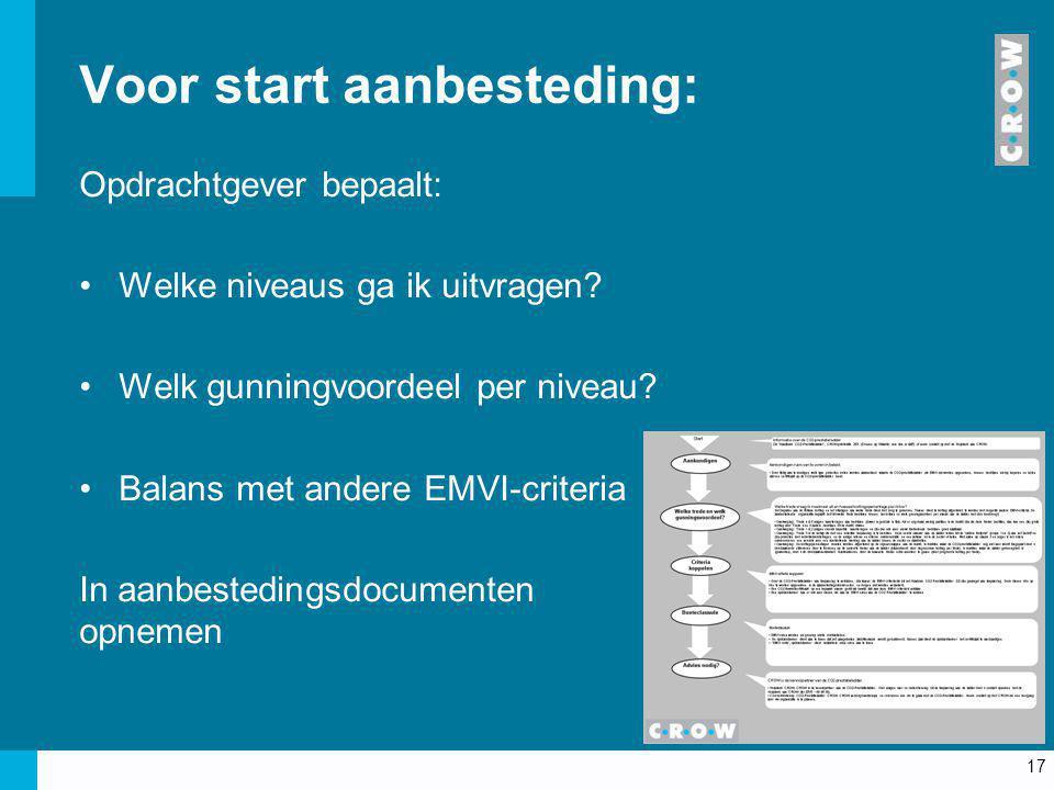 17 Voor start aanbesteding: Opdrachtgever bepaalt: Welke niveaus ga ik uitvragen? Welk gunningvoordeel per niveau? Balans met andere EMVI-criteria In