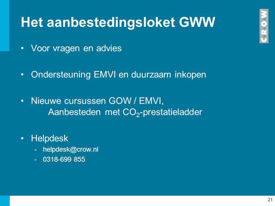 21 Het aanbestedingsloket GWW Voor vragen en advies Ondersteuning EMVI en duurzaam inkopen Nieuwe cursussen GOW / EMVI, Aanbesteden met CO 2 -prestati