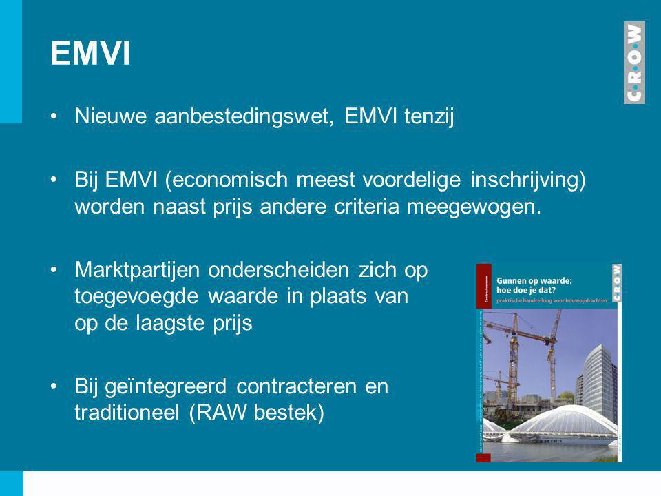 EMVI Nieuwe aanbestedingswet, EMVI tenzij Bij EMVI (economisch meest voordelige inschrijving) worden naast prijs andere criteria meegewogen. Marktpart