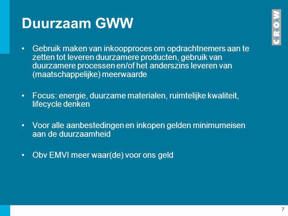 7 Duurzaam GWW Gebruik maken van inkoopproces om opdrachtnemers aan te zetten tot leveren duurzamere producten, gebruik van duurzamere processen en/of