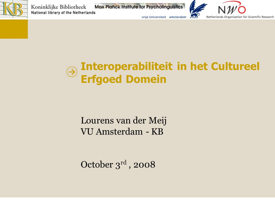Interoperabiliteit in het Cultureel Erfgoed Domein Automatic alignment techniques Lexical Labels of entities and textual definitions Structural Structure of the vocabularies Background knowledge Using a shared conceptual reference to find links Extensional Object information (e.g.