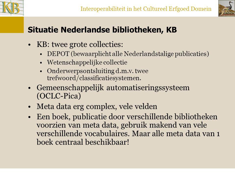 Interoperabiliteit in het Cultureel Erfgoed Domein Situatie Nederlandse bibliotheken, KB KB: twee grote collecties: DEPOT (bewaarplicht alle Nederlandstalige publicaties) Wetenschappelijke collectie Onderwerpsontsluiting d.m.v.