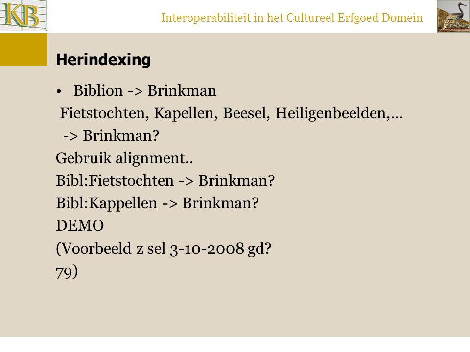 Interoperabiliteit in het Cultureel Erfgoed Domein Herindexing Biblion -> Brinkman Fietstochten, Kapellen, Beesel, Heiligenbeelden,… -> Brinkman.