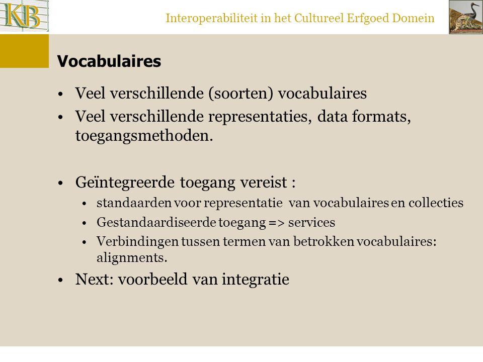 Interoperabiliteit in het Cultureel Erfgoed Domein Vocabulaires Veel verschillende (soorten) vocabulaires Veel verschillende representaties, data formats, toegangsmethoden.