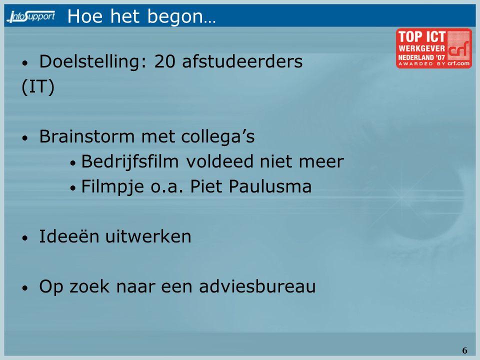 Hoe het begon … Doelstelling: 20 afstudeerders (IT) Brainstorm met collega's Bedrijfsfilm voldeed niet meer Filmpje o.a. Piet Paulusma Ideeën uitwerke