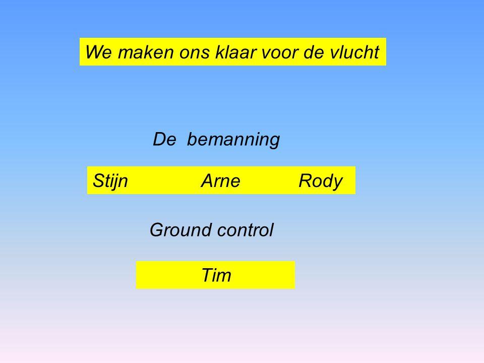 We maken ons klaar voor de vlucht Stijn Arne Rody De bemanning Ground control Tim