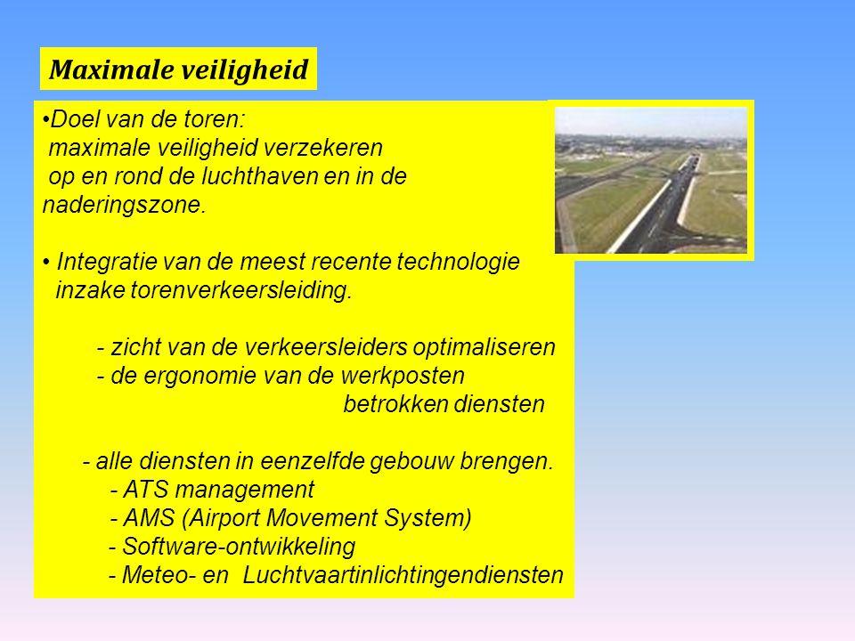 Maximale veiligheid Doel van de toren: maximale veiligheid verzekeren op en rond de luchthaven en in de naderingszone. Integratie van de meest recente