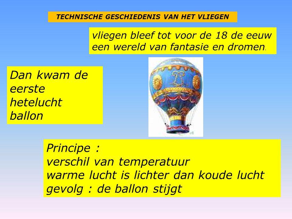 TECHNISCHE GESCHIEDENIS VAN HET VLIEGEN vliegen bleef tot voor de 18 de eeuw een wereld van fantasie en dromen. Dan kwam de eerste hetelucht ballon Pr