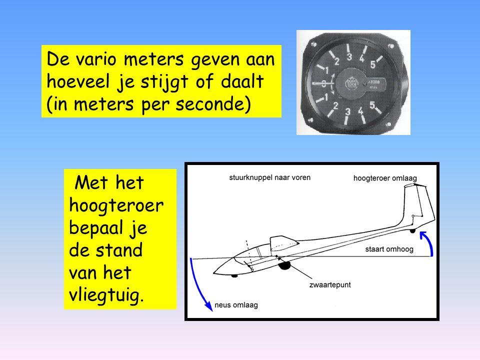 Met het hoogteroer bepaal je de stand van het vliegtuig. De vario meters geven aan hoeveel je stijgt of daalt (in meters per seconde)
