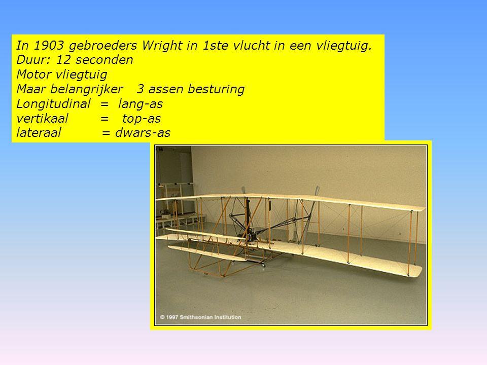 In 1903 gebroeders Wright in 1ste vlucht in een vliegtuig. Duur: 12 seconden Motor vliegtuig Maar belangrijker 3 assen besturing Longitudinal = lang-a