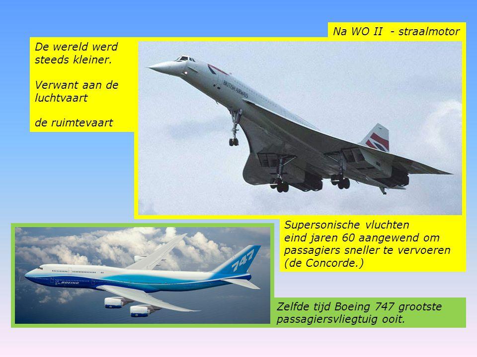 Na WO II - straalmotor De wereld werd steeds kleiner. Verwant aan de luchtvaart de ruimtevaart Supersonische vluchten eind jaren 60 aangewend om passa