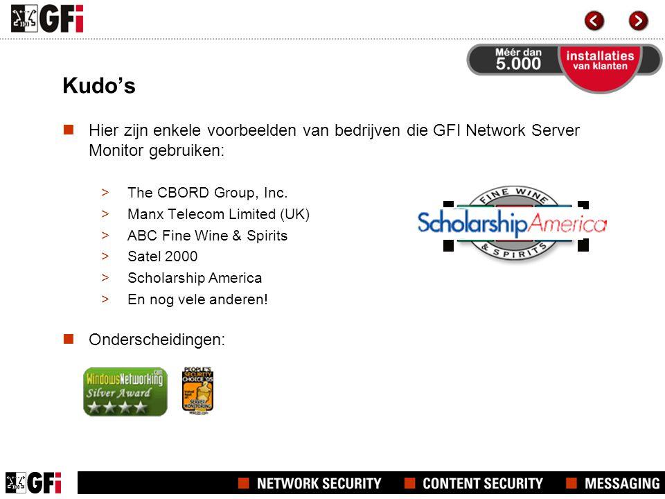Kudo's Hier zijn enkele voorbeelden van bedrijven die GFI Network Server Monitor gebruiken: >The CBORD Group, Inc.