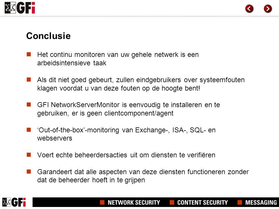 Conclusie Het continu monitoren van uw gehele netwerk is een arbeidsintensieve taak Als dit niet goed gebeurt, zullen eindgebruikers over systeemfouten klagen voordat u van deze fouten op de hoogte bent.