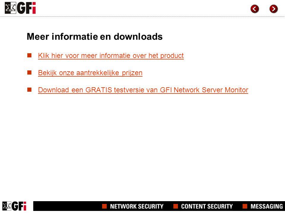 Meer informatie en downloads Klik hier voor meer informatie over het product Bekijk onze aantrekkelijke prijzen Download een GRATIS testversie van GFI Network Server Monitor