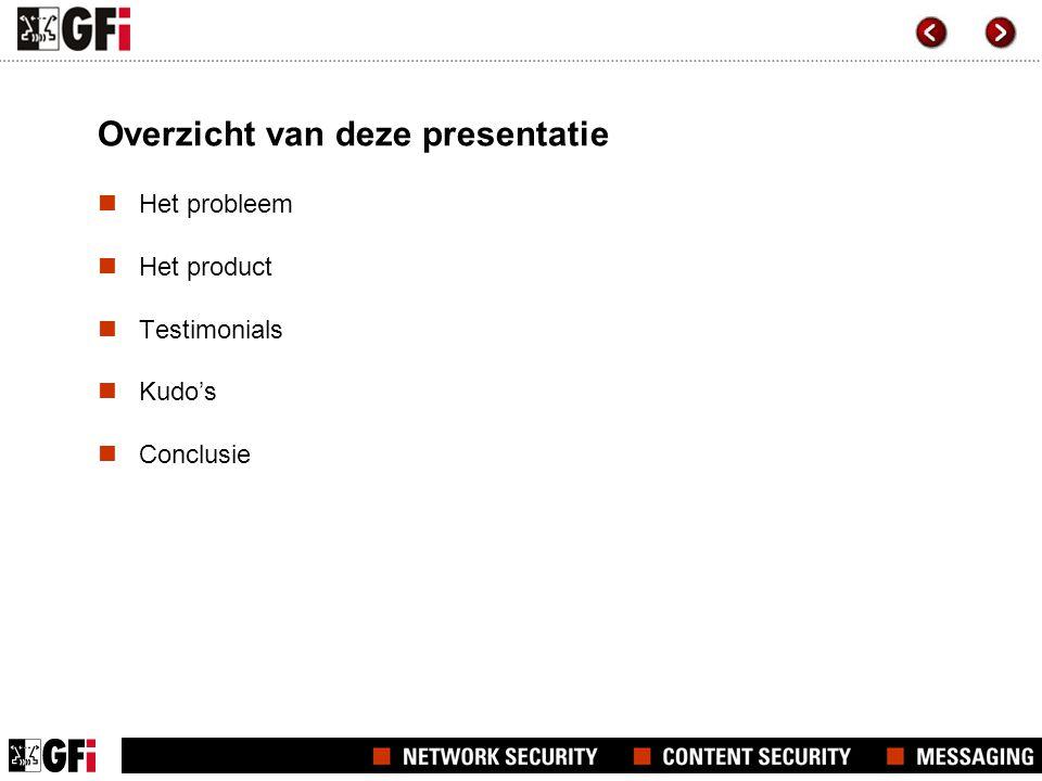 Overzicht van deze presentatie Het probleem Het product Testimonials Kudo's Conclusie