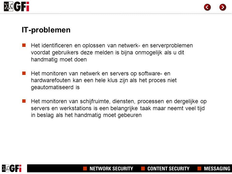 IT-problemen Het identificeren en oplossen van netwerk- en serverproblemen voordat gebruikers deze melden is bijna onmogelijk als u dit handmatig moet doen Het monitoren van netwerk en servers op software- en hardwarefouten kan een hele klus zijn als het proces niet geautomatiseerd is Het monitoren van schijfruimte, diensten, processen en dergelijke op servers en werkstations is een belangrijke taak maar neemt veel tijd in beslag als het handmatig moet gebeuren