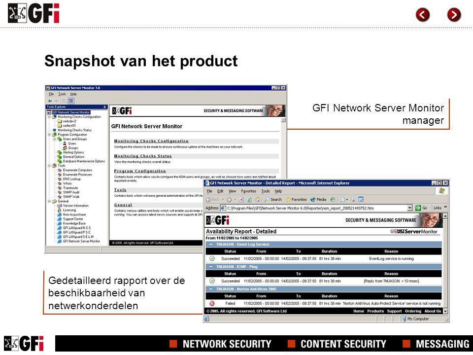 Gedetailleerd rapport over de beschikbaarheid van netwerkonderdelen GFI Network Server Monitor manager Snapshot van het product