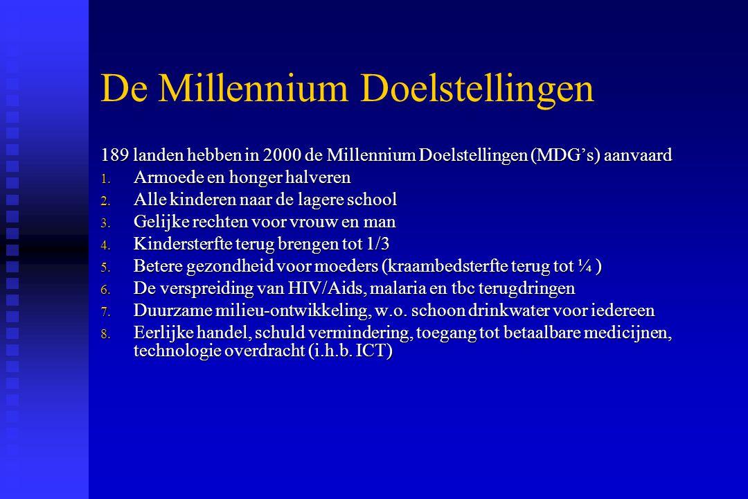 De Millennium Doelstellingen 189 landen hebben in 2000 de Millennium Doelstellingen (MDG's) aanvaard 1. Armoede en honger halveren 2. Alle kinderen na