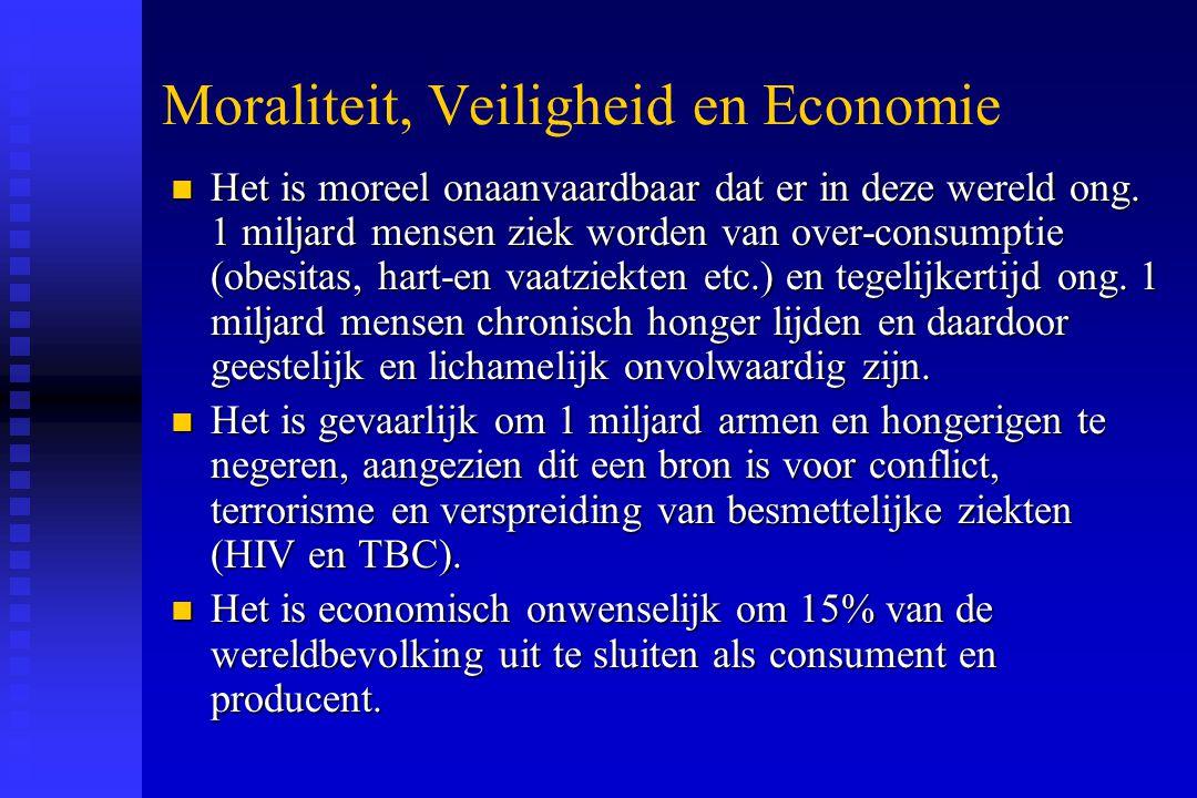 Moraliteit, Veiligheid en Economie n Het is moreel onaanvaardbaar dat er in deze wereld ong. 1 miljard mensen ziek worden van over-consumptie (obesita