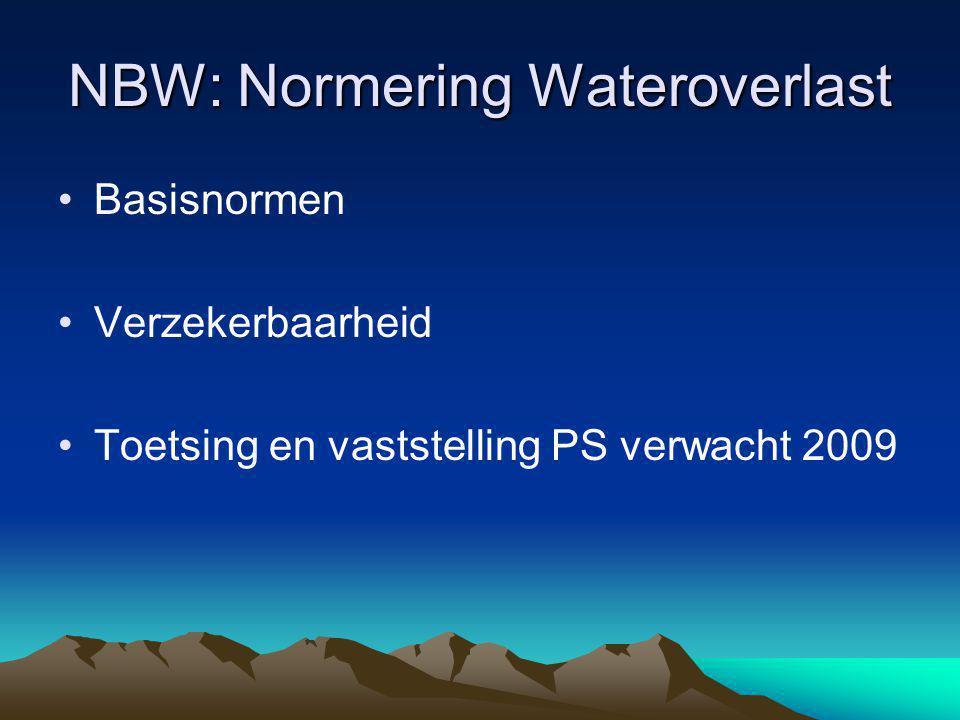 NBW: Normering Wateroverlast Basisnormen Verzekerbaarheid Toetsing en vaststelling PS verwacht 2009