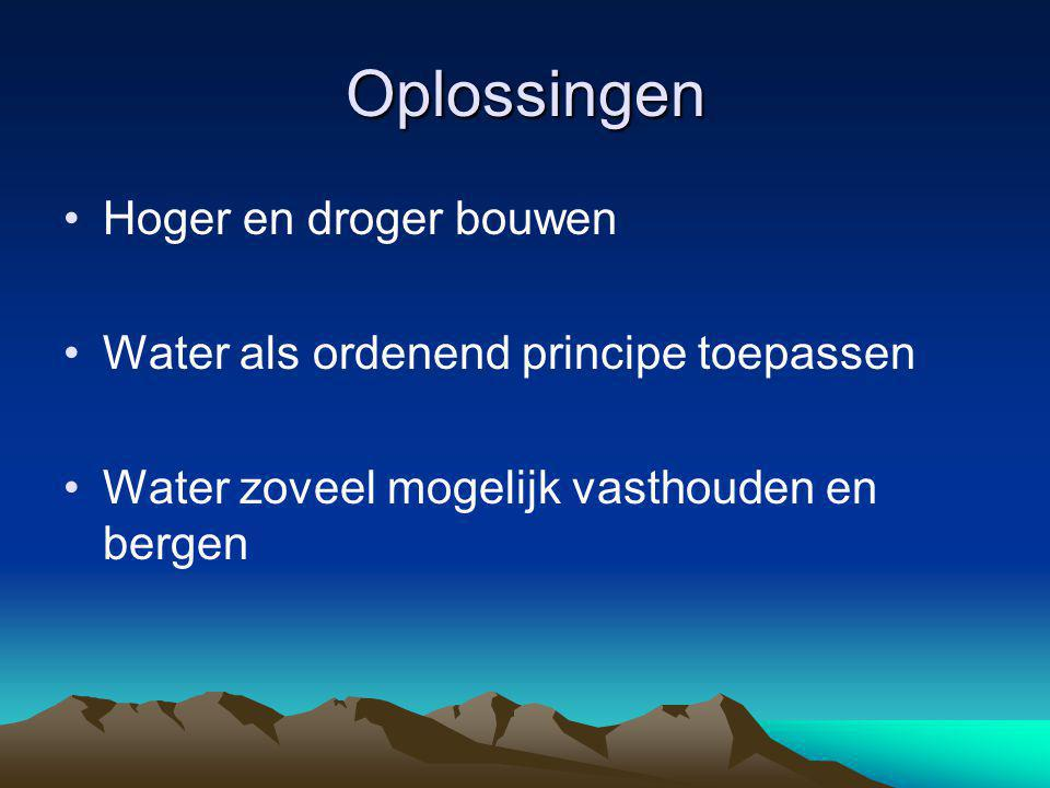 Oplossingen Hoger en droger bouwen Water als ordenend principe toepassen Water zoveel mogelijk vasthouden en bergen