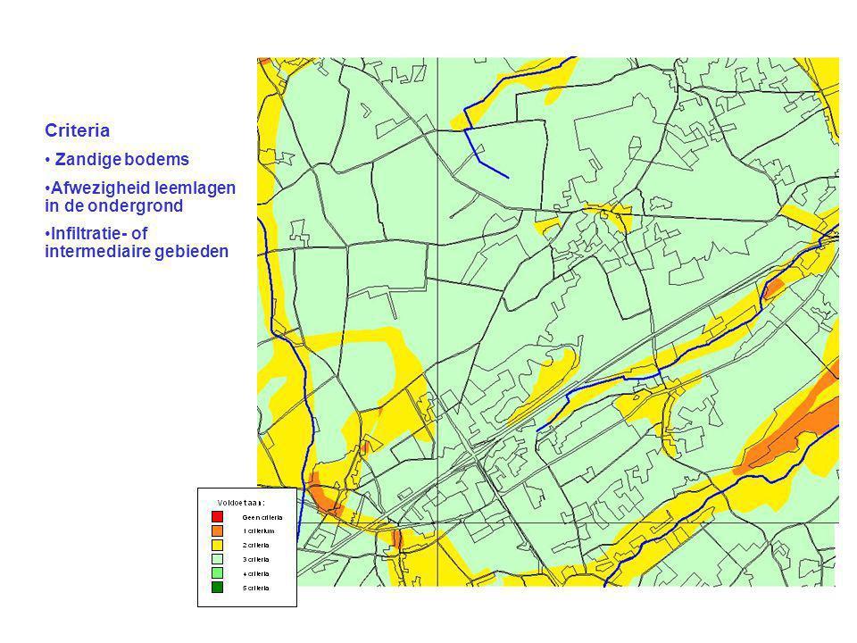 Criteria Zandige bodems Afwezigheid leemlagen in de ondergrond Infiltratie- of intermediaire gebieden