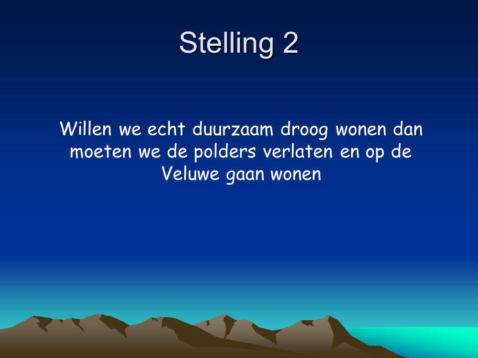Stelling 2 Willen we echt duurzaam droog wonen dan moeten we de polders verlaten en op de Veluwe gaan wonen
