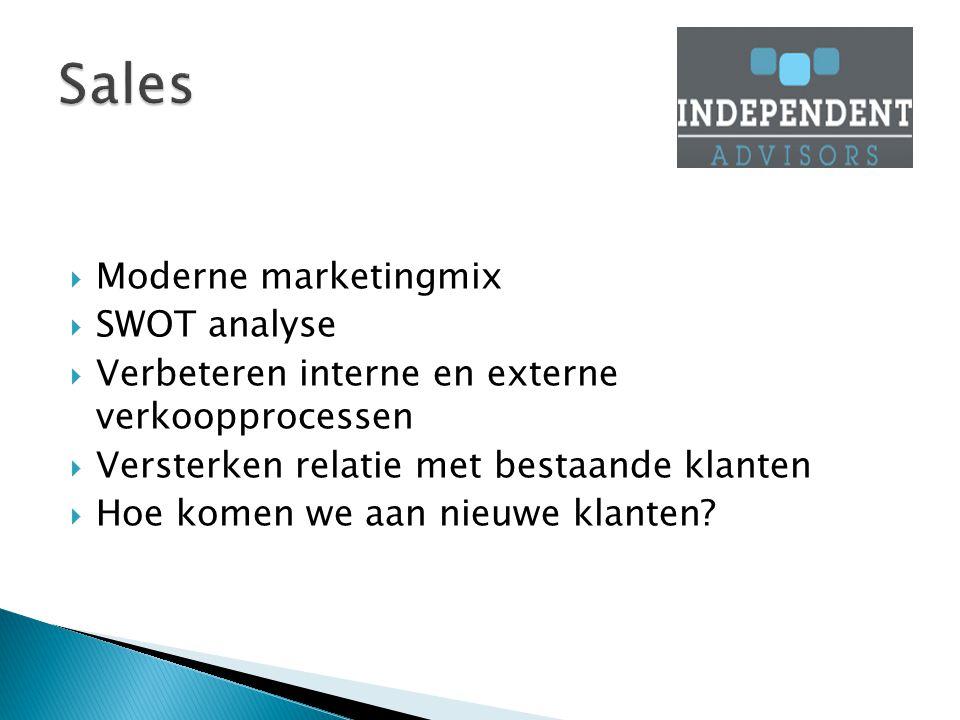  Moderne marketingmix  SWOT analyse  Verbeteren interne en externe verkoopprocessen  Versterken relatie met bestaande klanten  Hoe komen we aan nieuwe klanten