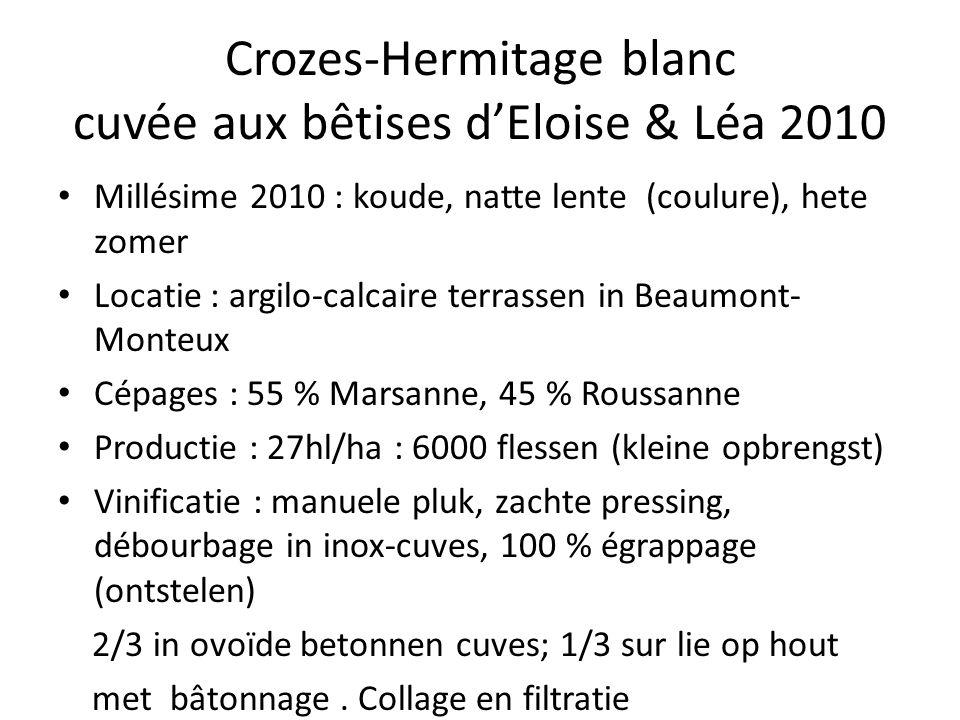 Crozes-Hermitage blanc cuvée aux bêtises d'Eloise & Léa 2010 Millésime 2010 : koude, natte lente (coulure), hete zomer Locatie : argilo-calcaire terrassen in Beaumont- Monteux Cépages : 55 % Marsanne, 45 % Roussanne Productie : 27hl/ha : 6000 flessen (kleine opbrengst) Vinificatie : manuele pluk, zachte pressing, débourbage in inox-cuves, 100 % égrappage (ontstelen) 2/3 in ovoïde betonnen cuves; 1/3 sur lie op hout met bâtonnage.