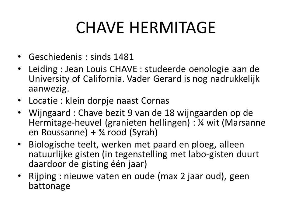 CHAVE HERMITAGE Geschiedenis : sinds 1481 Leiding : Jean Louis CHAVE : studeerde oenologie aan de University of California. Vader Gerard is nog nadruk