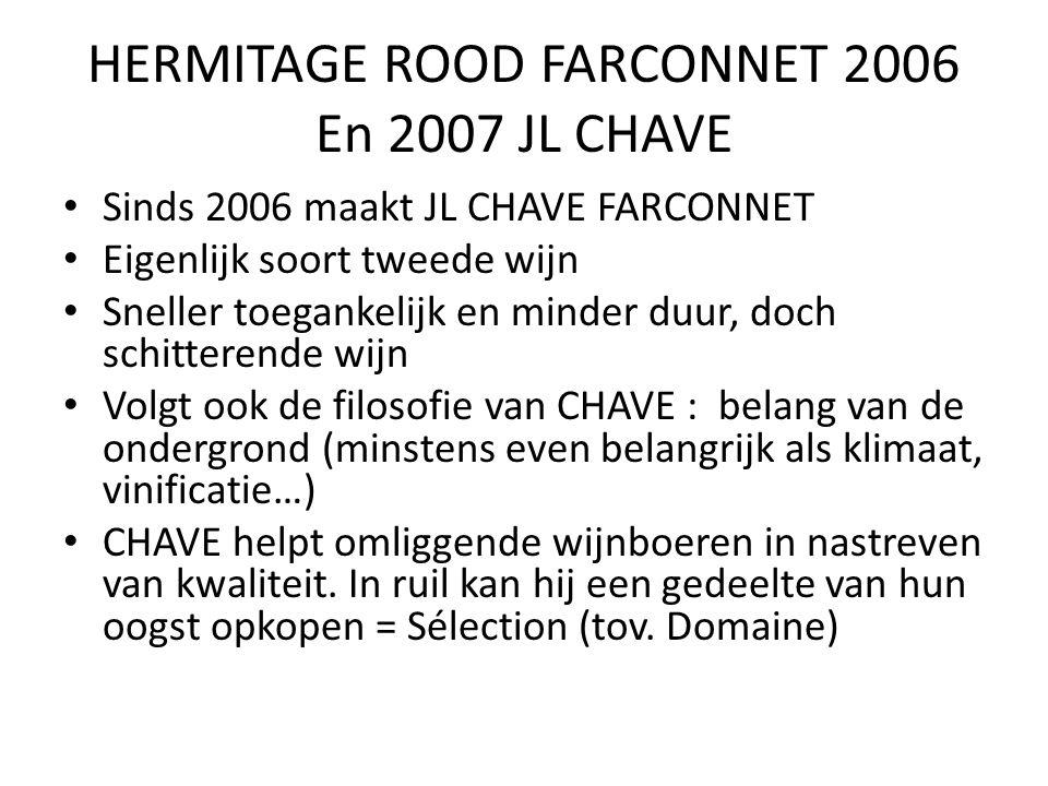 HERMITAGE ROOD FARCONNET 2006 En 2007 JL CHAVE Sinds 2006 maakt JL CHAVE FARCONNET Eigenlijk soort tweede wijn Sneller toegankelijk en minder duur, doch schitterende wijn Volgt ook de filosofie van CHAVE : belang van de ondergrond (minstens even belangrijk als klimaat, vinificatie…) CHAVE helpt omliggende wijnboeren in nastreven van kwaliteit.