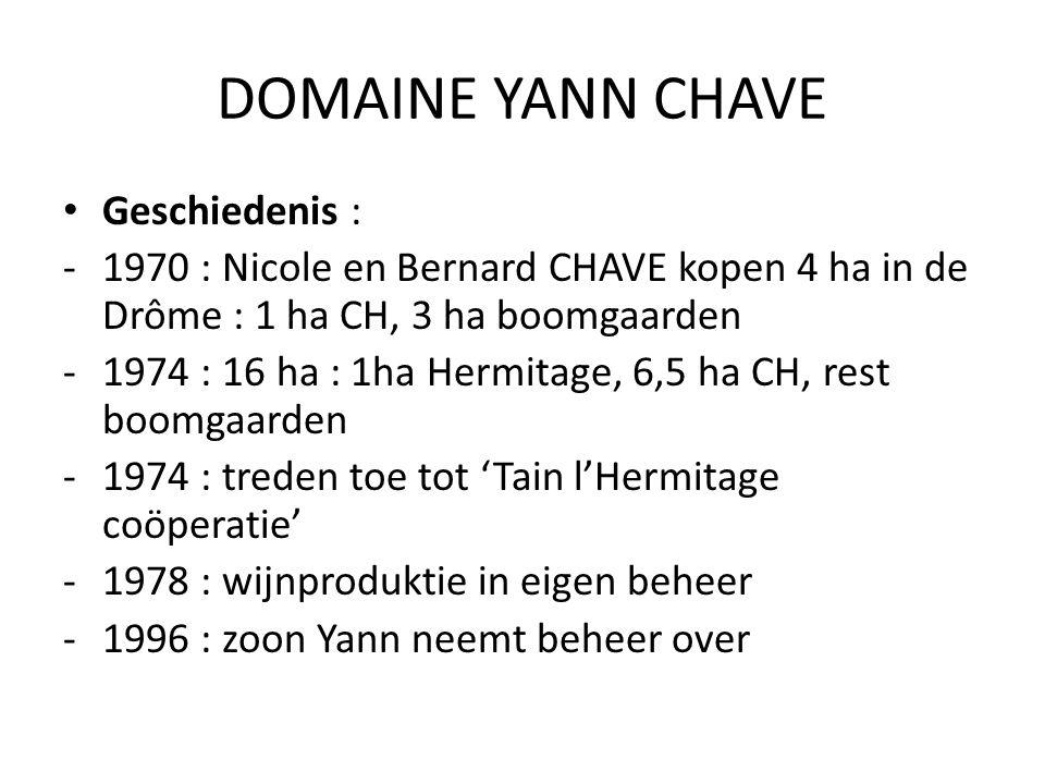 DOMAINE YANN CHAVE Geschiedenis : -1970 : Nicole en Bernard CHAVE kopen 4 ha in de Drôme : 1 ha CH, 3 ha boomgaarden -1974 : 16 ha : 1ha Hermitage, 6,