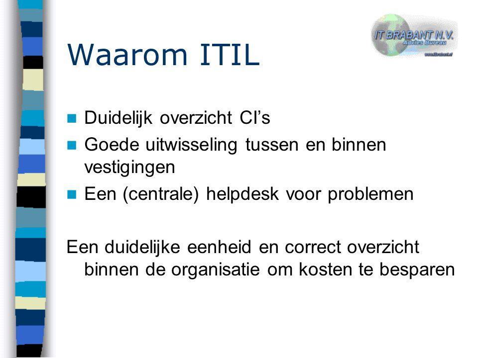 Waarom ITIL Duidelijk overzicht CI's Goede uitwisseling tussen en binnen vestigingen Een (centrale) helpdesk voor problemen Een duidelijke eenheid en