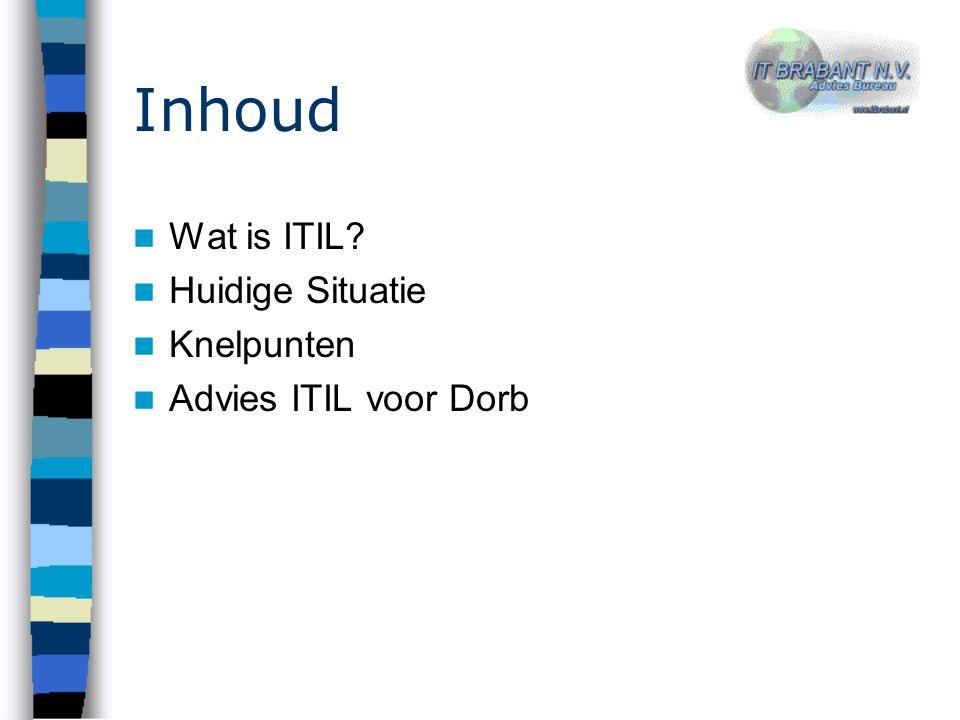 Inhoud Wat is ITIL? Huidige Situatie Knelpunten Advies ITIL voor Dorb